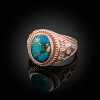 Rose Gold Star of David Blue Copper Turquoise Jewish Statement Ring