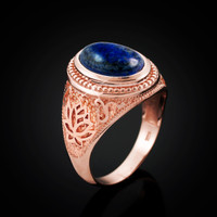 Rose Gold Lotus Yoga Mantra Lapis Lazuli Gemstone Statement Ring