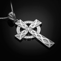 White Gold Celtic Cross Pendant Necklace