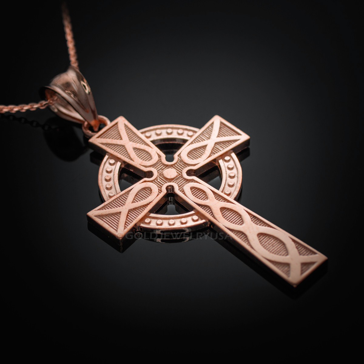 aedf481fb10f4 Rose Gold Celtic Cross Pendant Necklace. Image 1. Loading zoom