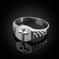 White Gold Christian Religious Cross Round Watchband Ring