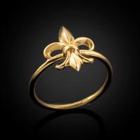 Dainty Gold Fleur-de-Lis Womens Ring
