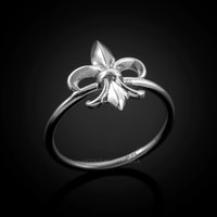 Dainty White Gold Fleur-de-Lis Womens Ring