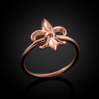 Dainty Rose Gold Fleur-de-Lis Womens Ring
