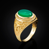 Yellow Gold Celtic Trinity Green Onyx Statement Ring