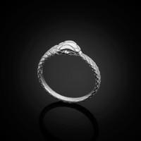 White Gold Ouroboros Snake Diamond Ring Band