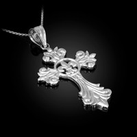 White Gold Fleur-de-Lis Cross Pendant Necklace