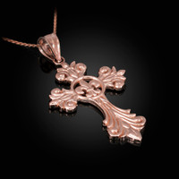 Rose Gold Fleur-de-Lis Cross Pendant Necklace