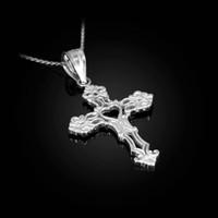 White Gold Open Heart Cross Charm Pendant Necklace