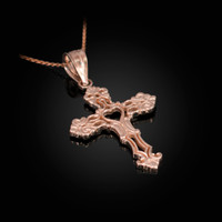 Rose Gold Open Heart Cross Charm Pendant Necklace