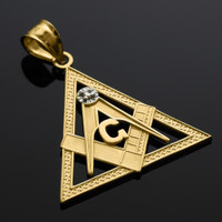 Yellow Gold Triangle Diamond Masonic Pendant