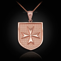 Rose Gold Knights Hospitaller Maltese Cross Badge Pendant Necklace