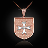 Two-Tone Rose Gold Knights Hospitaller Maltese Cross Badge Pendant Necklace