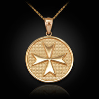 Solid Gold Knights Templar Maltese Cross Medallion Pendant Necklace