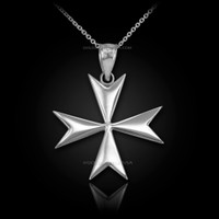 Polished White Gold Maltese Cross Pendant Necklace