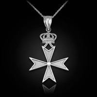 White Gold Maltese Cross Royal Crown Pendant Necklace