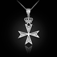 White Gold Maltese Cross Crown Charm Necklace