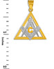 Two-Tone Gold Triangle Diamond Masonic Pendant
