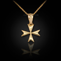 Gold Tiny Maltese Cross Womens Charm Necklace