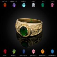 Gold Egyptian Ankh Cross Birthstone CZ Unisex Ring
