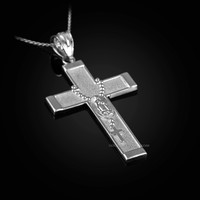 White Gold Guadalupe Latin Cross Rosary Pendant Necklace