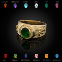 Yellow Gold Celtic Trinity Band Birthstone CZ Ring