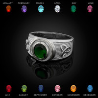 White Gold Celtic Trinity Band Birthstone CZ Ring