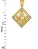 Yellow Gold Square Diamond Masonic Pendant
