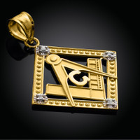Yellow Gold Square Diamond Masonic Pendant
