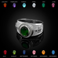White Gold Masonic CZ Birthstone Ring