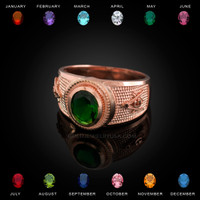 Rose Gold Masonic CZ Birthstone Ring