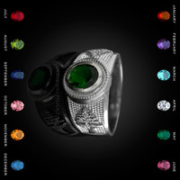 White Gold Cedar Tree of Lebanon CZ Birthstone Ring