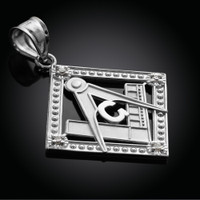 White Gold Square Diamond Masonic Pendant