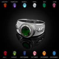 White Gold Cash Money Dollar CZ Birthstone Ring