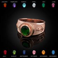 Rose Gold Mariner Anchor CZ Birthstone Ring