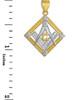 Two-Tone Gold Square Diamond Masonic Pendant