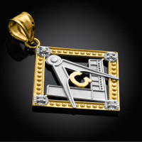 Two-Tone Gold Square Diamond Masonic Pendant