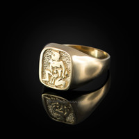 Yellow Gold Aquarius Mens Zodiac Ring