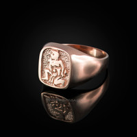 Rose Gold Aquarius Mens Zodiac Ring