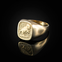 Yellow Gold Aries Mens Zodiac Ring