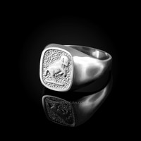 White Gold Aries Mens Zodiac Ring