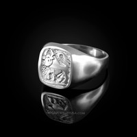 White Gold Taurus Mens Zodiac Ring