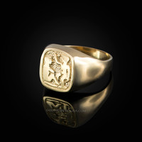 Yellow Gold Gemini Mens Zodiac Ring