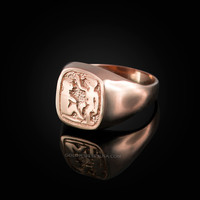 Rose Gold Gemini Mens Zodiac Ring