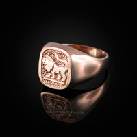 Rose Gold Leo Mens Zodiac Ring