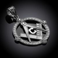 White Gold Round Diamond Masonic Pendant