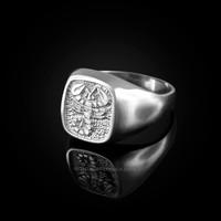 White Gold Scorpio Mens Zodiac Ring