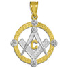 Two-Tone Gold Round Diamond Masonic Pendant