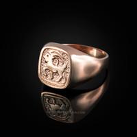 Rose Gold Capricorn Mens Zodiac Ring