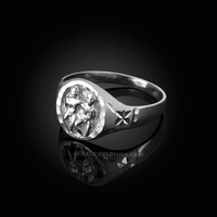 White Gold Gemini Satin DC Band Ladies Zodiac Ring
